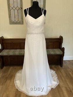 New Ex Sample Chloe Jai Forget Me Not Art Deco Sheath Wedding Dress Gown 8 10