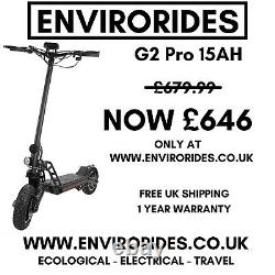 New G2 Pro 15AH/1000W E-Scooter (Visit EnviroRides Now, Get It For £646)