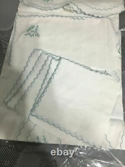 Pratesi Tablecloth 10 Napkins Forget Me Not Flower Bouquet Scalloped Embroidery