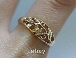 R053 Lovely Genuine 9K Yellow Gold Floral Filigree Forget-me-not Ring size 6