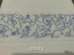 Rare$369 Sferra Twin Flat Sheet Embroidery Forget Me Not Blue Roses Flower Italy
