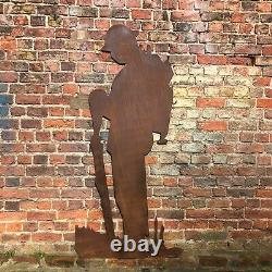 Rusty Metal Life Size Lest We Forget Army Soldier Remembrance Day Wall Feature