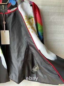 Stunning Ted Baker Gisel Forget Me Not Floral Cape Black Size 3 UK 12 New