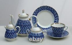 Tea set 6/21 pcs FORGET ME NOT Cobalt & 22K-gold, Lomonosov Porcelain, Russia